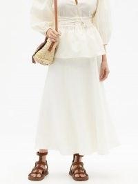 FIL DE VIE Mena flared linen skirt | longline flared hem summer skirts