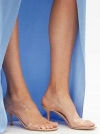GIANVITO ROSSI Metropolis 70 plexi & leather slingback sandals ~ semi sheer plexi strap skingbacks