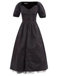 BATSHEVA Minnie V-neck tulle-lined moiré dress   1950s style dresses   vintage look fashion   retro clothing