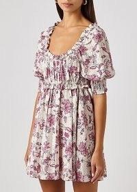 MISA Ara floral-print mini dress / romantic scooped-neck short puff sleeve dresses