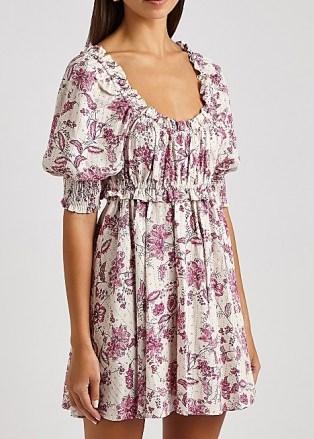 MISA Ara floral-print mini dress / romantic scooped-neck short puff sleeve dresses - flipped