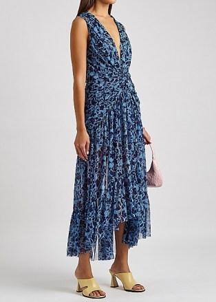MISA Ava blue printed tulle midi dress / romantic front-twist high low hemline dresses - flipped