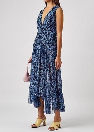 MISA Ava blue printed tulle midi dress / romantic front-twist high low hemline dresses