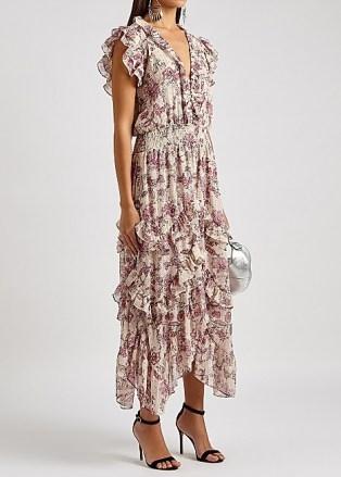 MISA Dakota floral-print chiffon midi dress / romantic ruffled summer occasion dresses - flipped