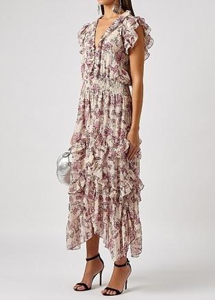 MISA Dakota floral-print chiffon midi dress / romantic ruffled summer occasion dresses