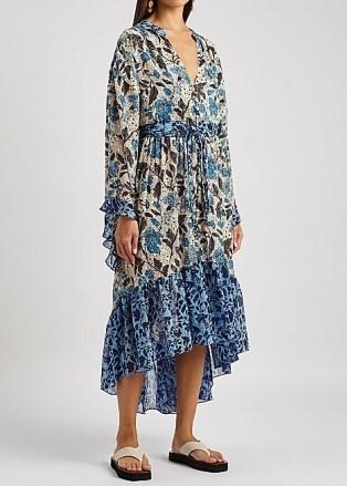 MISA Octavia floral-print chiffon midi dress / floaty cascading hemline summer dresses / romantic poolside cover-up - flipped