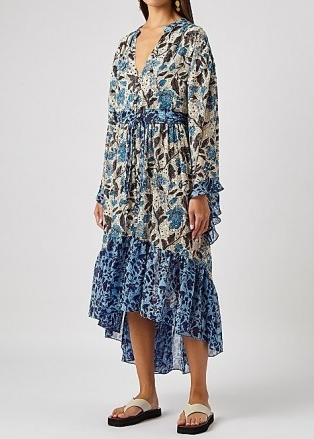 MISA Octavia floral-print chiffon midi dress / floaty cascading hemline summer dresses / romantic poolside cover-up