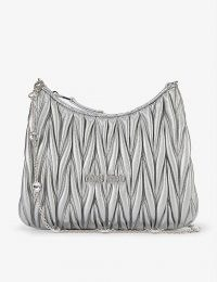 MIU MIU Matelassé metallic-leather shoulder bag with embellished chain strap