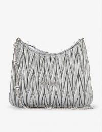 MIU MIU Matelassé metallic-leather shoulder bag with embellished chain strap