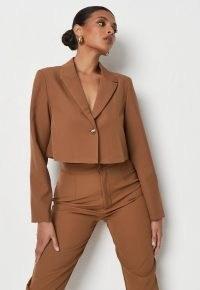 MISSGUIDED mocha co ord tailored cropped blazer ~ women's brown crop hem blazers