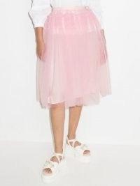 Molly Goddard Eryka tulle midi skirt in ballet pink – sheer overlay skirts