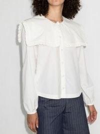 Molly Goddard Melanie oversized collar shirt – romantic white cotton ruffle trim shirts