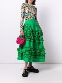 Molly Goddard ruffled full skirt in green cotton | ruffle trimmed summer skirts