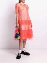 Molly Goddard neon-pink ruffled tulle dress ~ romantic sheer overlay ruffle dresses