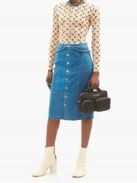 MARINE SERRE Moonfish Skin-print denim midi skirt ~ blue printed front button up skirts