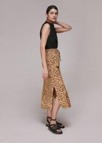 Whistles BARK PRINT TIE WAIST SKIRT – side split summer skirts