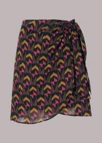 Whistles GEOMETRIC IKAT WRAP SKIRT – vivid prints – side tie skirts