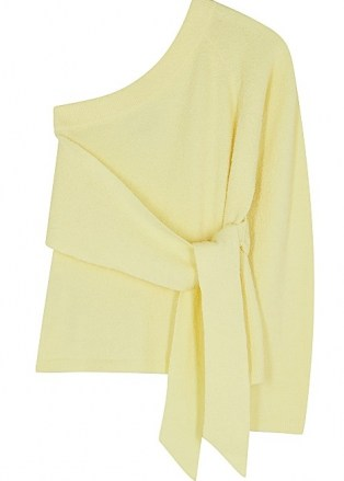 NANUSHKA Cleto yellow one-shoulder stretch-cotton jumper ~ chic asymmetric tie waist jumpers - flipped