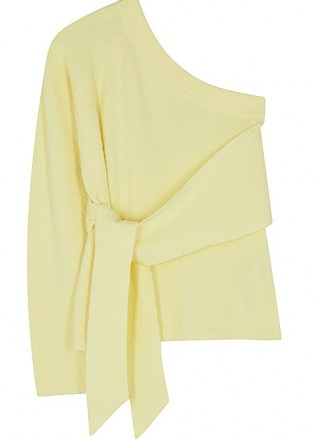 NANUSHKA Cleto yellow one-shoulder stretch-cotton jumper ~ chic asymmetric tie waist jumpers
