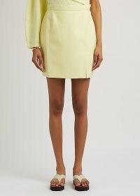 NANUSHKA Gima yellow regenerated leather mini skirt ~ luxe split hem skirts