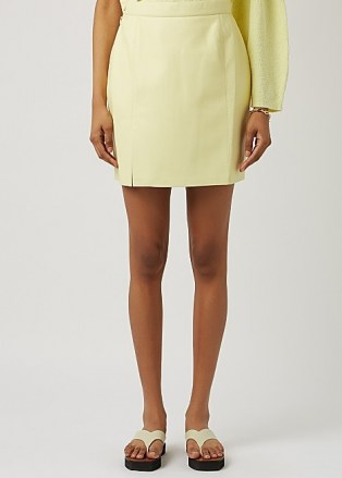 NANUSHKA Gima yellow regenerated leather mini skirt ~ luxe split hem skirts - flipped