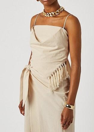 NANUSHKA Raelyn cream tasselled cotton top ~ fringed asymmetric cami tops - flipped