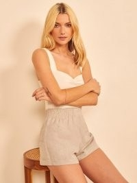 REFORMATION Nashville Linen Short / neutral elasticated smocked waistband shorts – effortless summer style