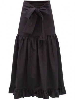 BATSHEVA Natasha bow-ties faille midi skirt | black prairie skirts | summer vintage style fashion - flipped