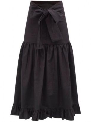 BATSHEVA Natasha bow-ties faille midi skirt | black prairie skirts | summer vintage style fashion