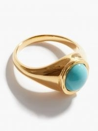 BY ALONA Ocean Breeze turquoise & gold-plated ring | blue cabochon stone rings