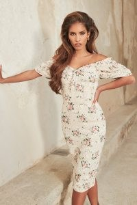 LAVISH ALICE off shoulder corset midi dress in floral broderie / fitted bodice pencil dresses with bardot neckline