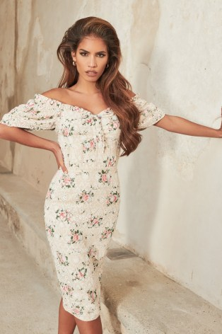 LAVISH ALICE off shoulder corset midi dress in floral broderie / fitted bodice pencil dresses with bardot neckline - flipped