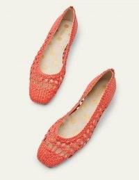 Boden Olive Ballerinas Red Woven | bright ballerina flats