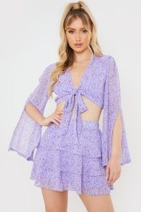 OLIVIA BOWEN PURPLE FLORAL PRINT FLARED SLEEVE CO-ORD TOP ~ tie front crop tops with split sleeves