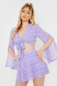 OLIVIA BOWEN PURPLE FLORAL PRINT TIERED CO-ORD SKIRT