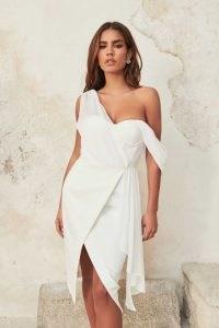 Lavish Alice one shoulder chiffon mix corset midi dress in white | floaty asymmetric evening dresses