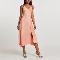 RIVER ISLAND Orange asymmetric slip dress / front slit cami dresses