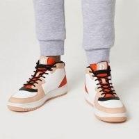 RIVER ISLAND Orange dipped topline trainers ~ colour block sneakers