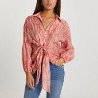 RIVER ISLAND Orange long sleeve twist front tie shirt / knot detail summer shirts