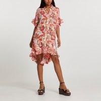 RIVER ISLAND Orange short sleeve floral shirt dress / ruffled dip hem dresses
