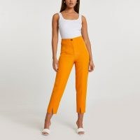 RIVER ISLAND Orange split front cigarette trousers / bright high waist crop leg pants