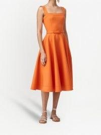 Oscar de la Renta orange belted mid-length dress / sleeveless fit and flare dresses