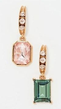 Oscar de la Renta Peapod and Stone Earrings Rose/Chrysolite ~ green and pink mismatched drops