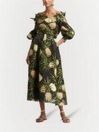 Oscar de la Renta pineapple-print full skirt / tropical fruit print skirts
