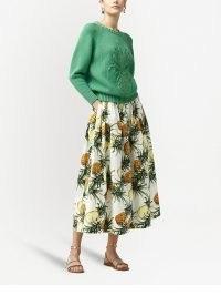 Oscar de la Renta pineapple-print midi skirt ~ fruit prints on skirts