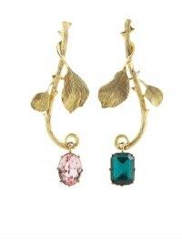 Oscar de la Renta Thorn and Branch asymmetric earrings / long statement drops