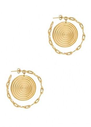PACO RABANNE Eight Nano gold-tone hoop earrings ~ large circular charmed hoops - flipped