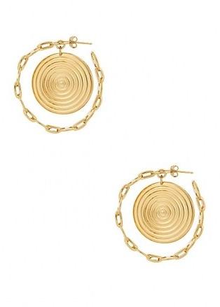 PACO RABANNE Eight Nano gold-tone hoop earrings ~ large circular charmed hoops