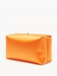 JIL SANDER Padded orange-satin clutch | chunky, bright and boxy occasion bags