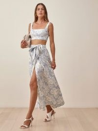 REFORMATION Palm Linen Two Piece | crop top and wrap skirt fashion set | summer co-ords